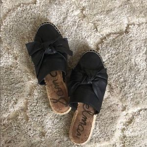 Sam Edelman Black Bow Leather Mules